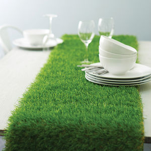 Artificial Grass Table Runner - dining in