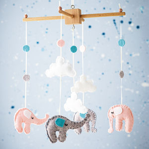 Elephant And Cloud Cot Mobile - mobiles
