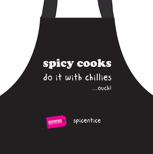 'Spicy Cooks Do It With Chilies…Ouch' Apron - aprons