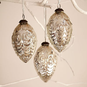 Antique Effect Glass Oval Christmas Bauble Set Of Three - hanging decorations