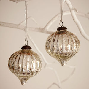 Large Antique Effect Glass Christmas Bauble Set Of Two - view all decorations