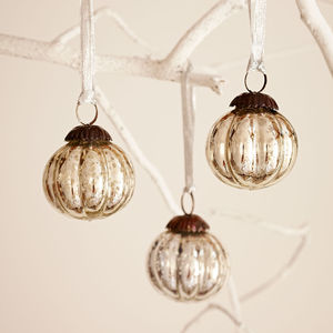 Antique Effect Glass Christmas Bauble Set Of Three