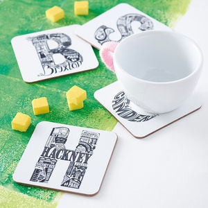 London Area Letter Coaster - housewarming gifts