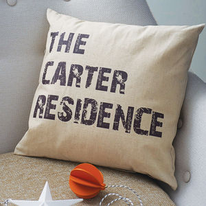 Personalised Home Cushion - housewarming gifts