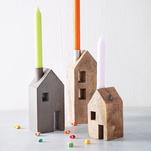 Scandi Block House Candle Holder - home accessories