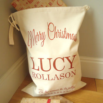 Modern Personalised Christmas Sack