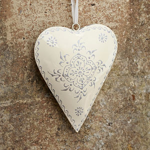 Cream Recycled Metal Heart Hanging