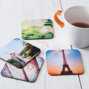 Set Of Four Personalised Drinks Coasters - token gifts