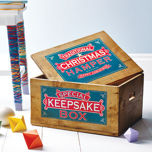 Traditional Wooden Christmas Box - boxes, trunks & crates