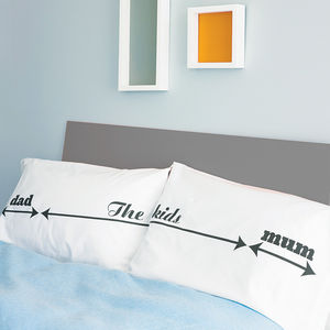 Mum / The Kids / Dad Family Personalised Pillowcase Set - for the home