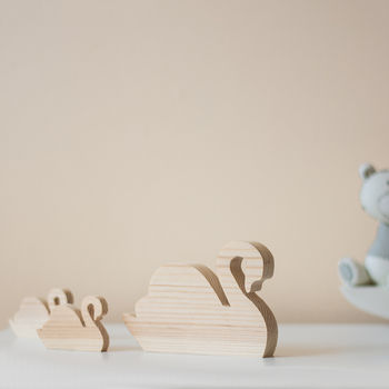 Set Of Three Wooden Swans Ornaments