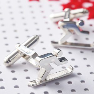 Silver Skiing Cufflinks - for sports fans