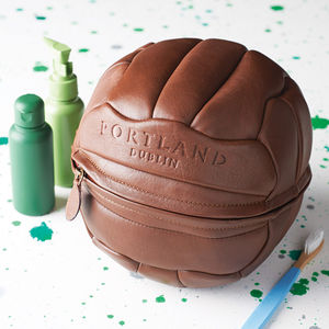 Leather Football Wash Bag - sport-lover