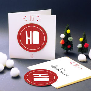 'Ho Ho Ho' Christmas Card With Coaster - cards