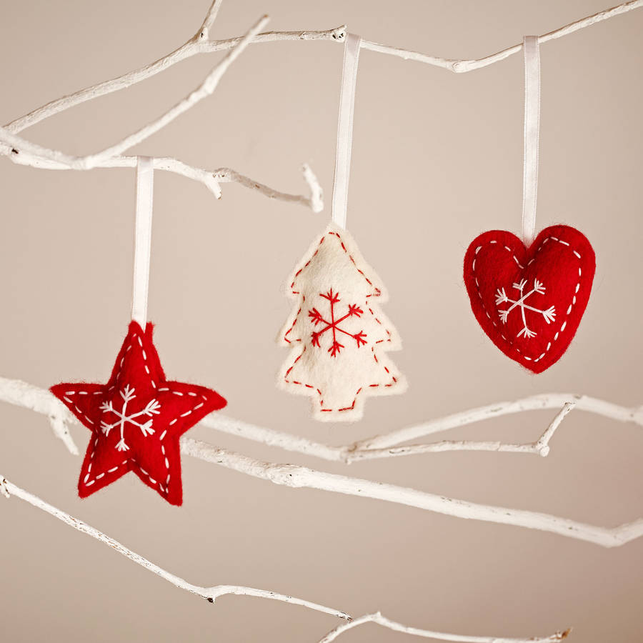 star heart and tree nordic style christmas decorations