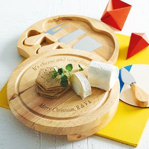 Personalised Cheese Board And Cheese Knives