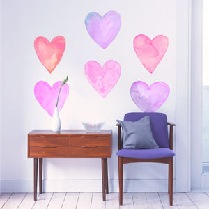 Lilac And Pink Watercolour Heart Wall Sticker Set - watercolour styling for weddings