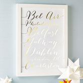 Personalised Metallic Calligraphy Destinations Print - gifts for her