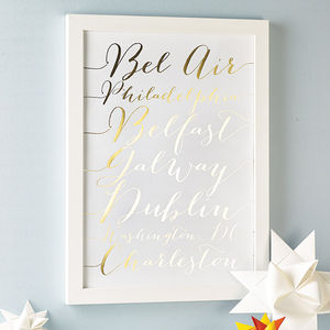 Personalised Metallic Calligraphy Destinations Print - travel inspired wedding gifts