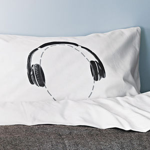 Headphones Pillowcase For Music Lovers Headcase Range - bedroom
