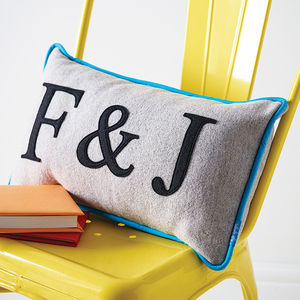 Piped Edge Couples Initial Cushion - wedding gifts