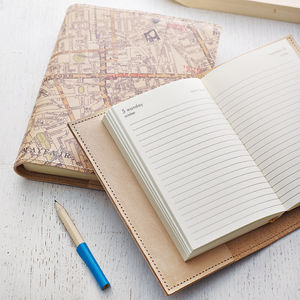 Personalised Refillable Vintage Map Diary - gifts for her