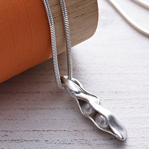 Two Peas In A Pod Handmade Silver Necklace - 25th anniversary: silver
