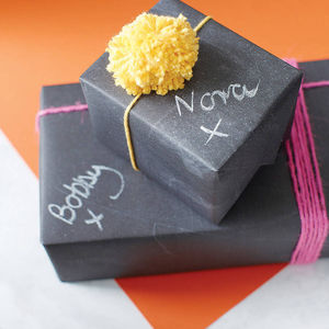 Chalkboard Gift Wrap - ribbon & wrap