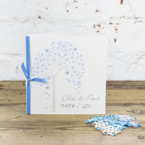 10 Personalised Winter Tree Thank You Cards - wedding stationery