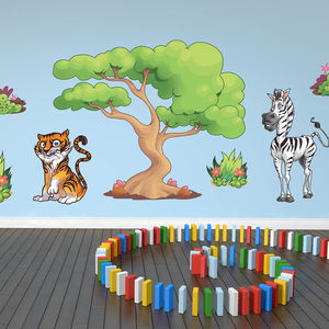 Large Jungle Animals Pack Four Wall Stickers - wall stickers