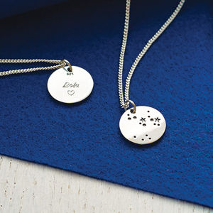 Silver Zodiac Constellation Necklace - star sign gifts