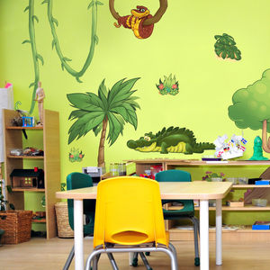 Large Jungle Animals Scene Wall Stickers