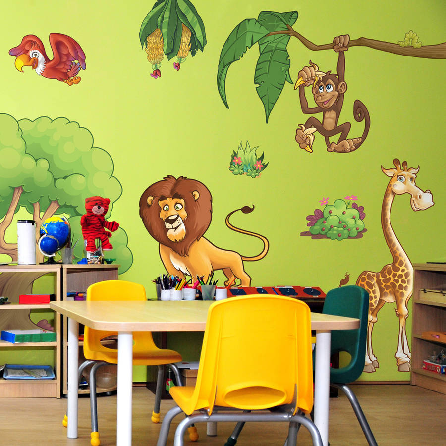 childrens jungle animals wall stickers by the binary box jungle animal childrens wall stickers by parkins interiors