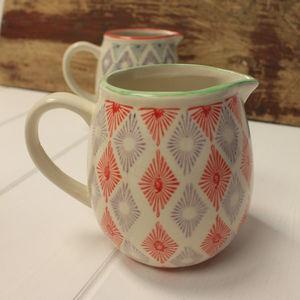 Geometric Orange And Purple Ceramic Jug