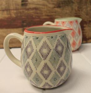 Geometric Green And Purple Ceramic Jug