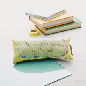 'She Believed She Could So She Did' Mini Cushion - patterned cushions