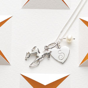 Initial And Horse Charm Necklace - for sisters