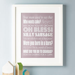 Personalised Family Sayings Print - gifts for him sale