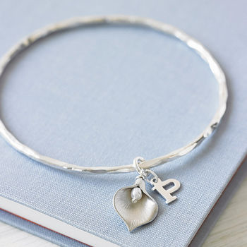 Silver Initial Lily Bangle
