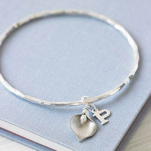 Silver Initial Lily Bangle - for friends