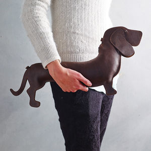 Dark Brown Leather Dachshund Bag - gifts for friends