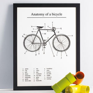 'Anatomy Of A Bicycle' Screen Print - winter sale