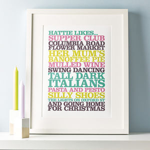 Personalised 'Likes' Poster Print - best gifts under £50