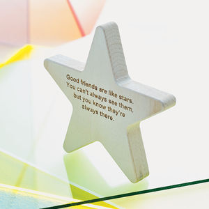 Personalised Wooden Star Keepsake - stocking fillers under £15