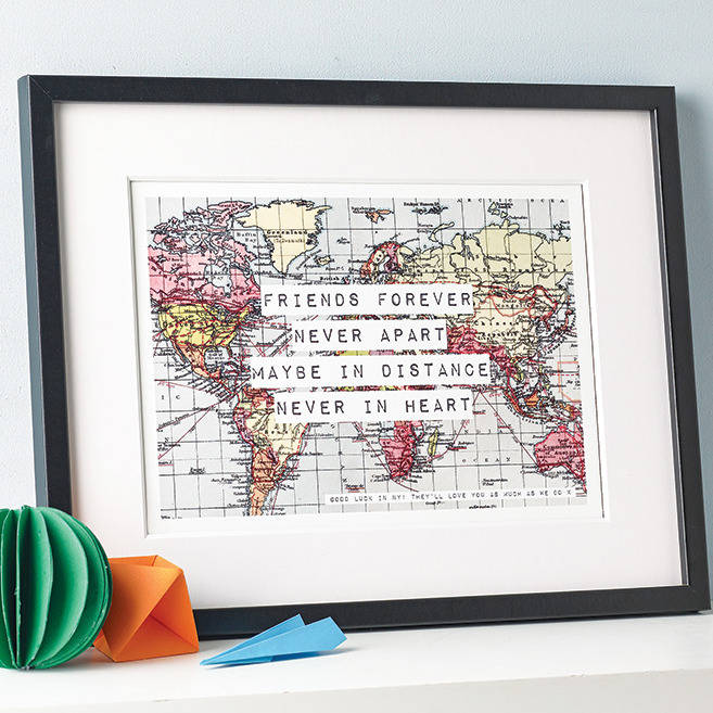 Personalised world map friendship print by of life lemons personalised world map friendship print gumiabroncs Image collections