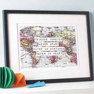 Personalised World Map Friendship Print - for friends