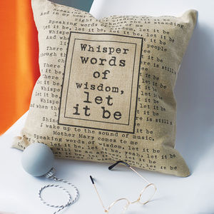 Personalised Lyrics Cushion Cover - for him