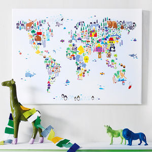 Animal World Map Print - canvas prints & art