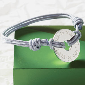 Personalised Coordinate Open Disc Bracelet - travelling