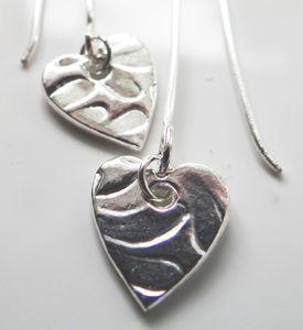 Silver Heart Drop Earrings - earrings